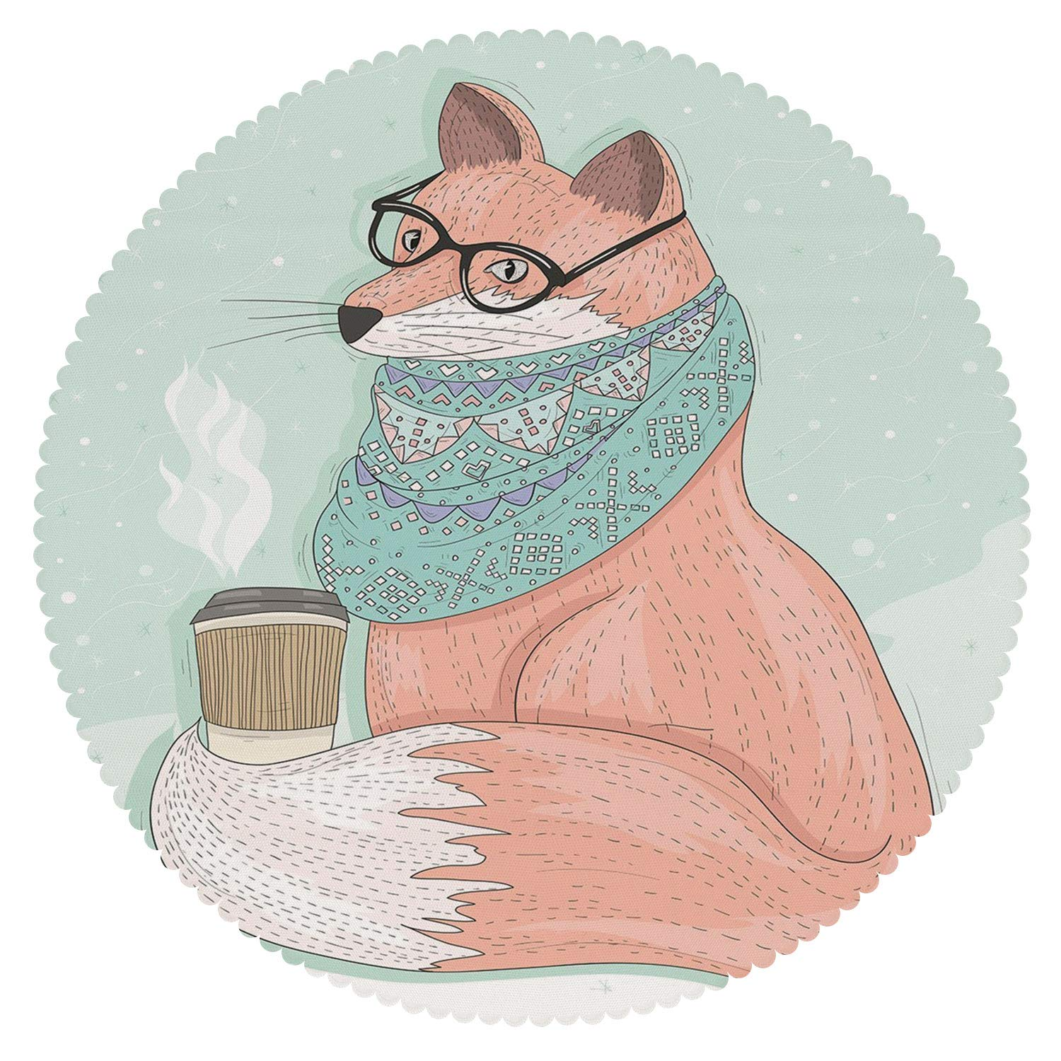 American Round Tablecloth [ Animal Decor,Cute Hipster Fox with Glasses and Scarf Drinking Coffee Hippie Illustration,Coral Mint ] Fabric Tablecloths