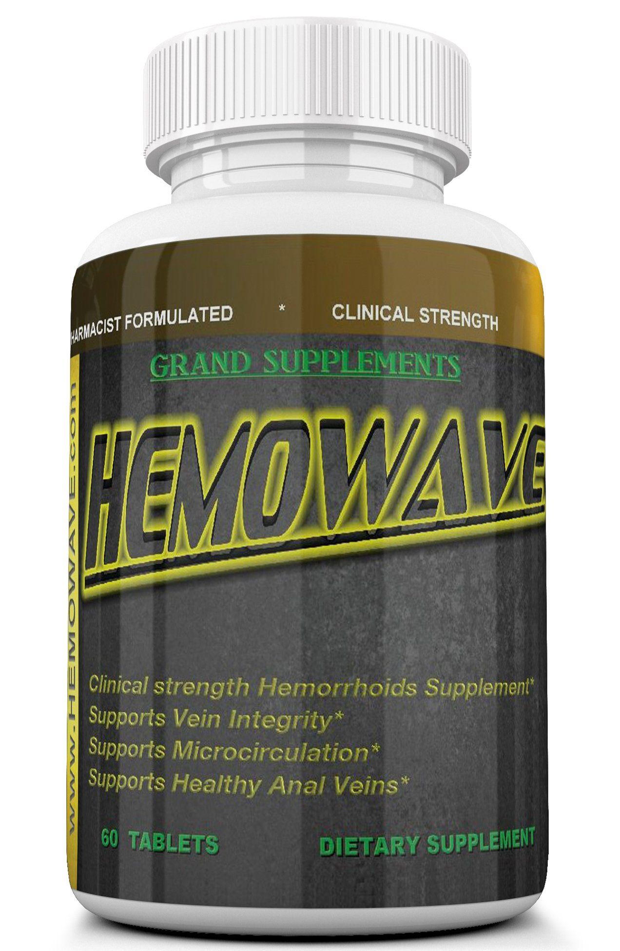 HEMOWAVE The Natural Approach to Hemorrhoid Treatment. Piles and Swelling Relief. Pain Relief. With Vitamin K. 60 Tablets