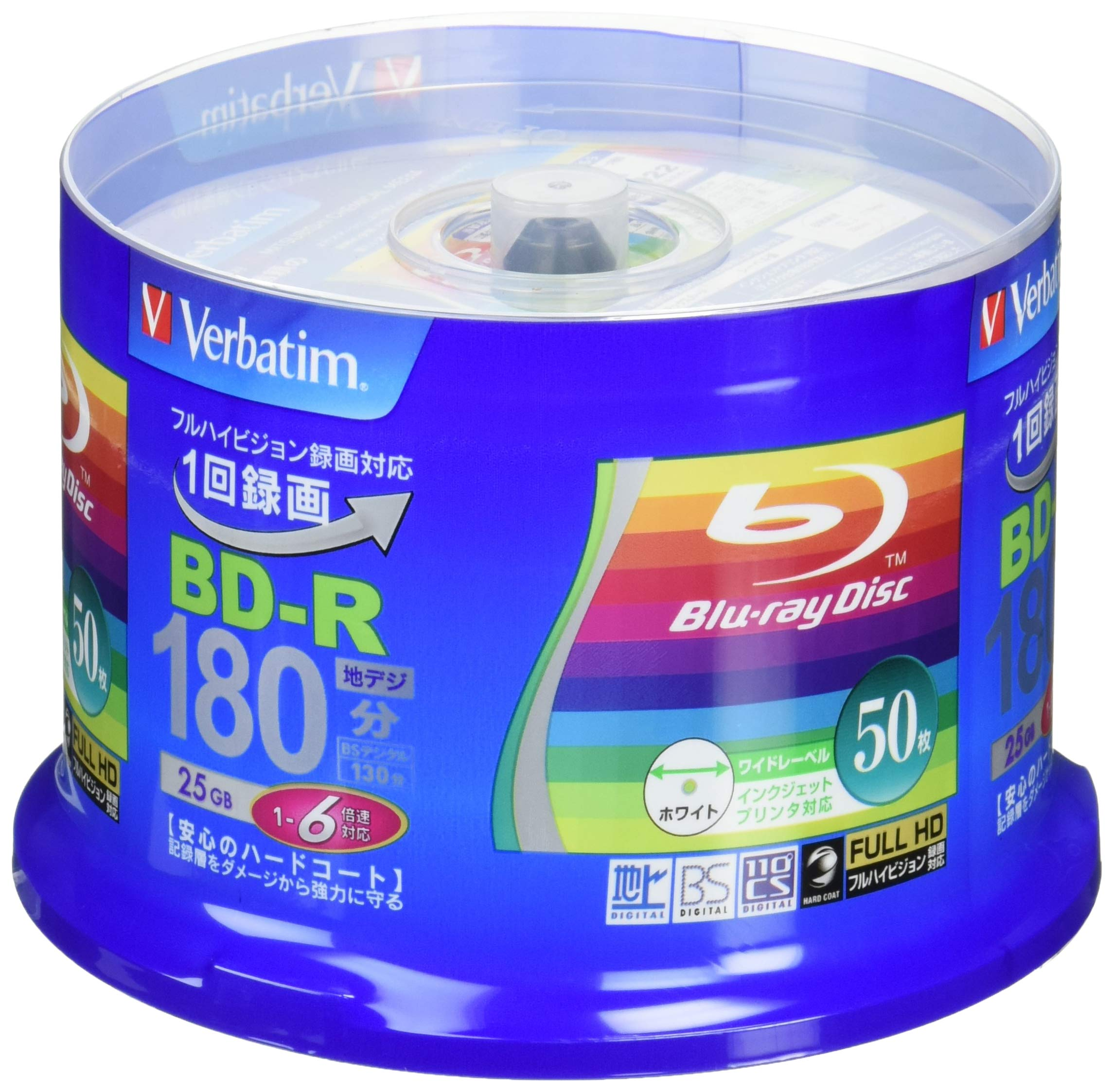 50 Verbatim Blu Ray 25 Gb Bd-r Single Layer 6X Speed Original Spindle Printable Blueray by Verbatim