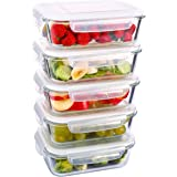 [5-Pack] MIUSITE-Glass Meal Prep Containers- Glass Storage Container with Airtight Locking Lids - Divided Glass Lunch box Sandwich containers