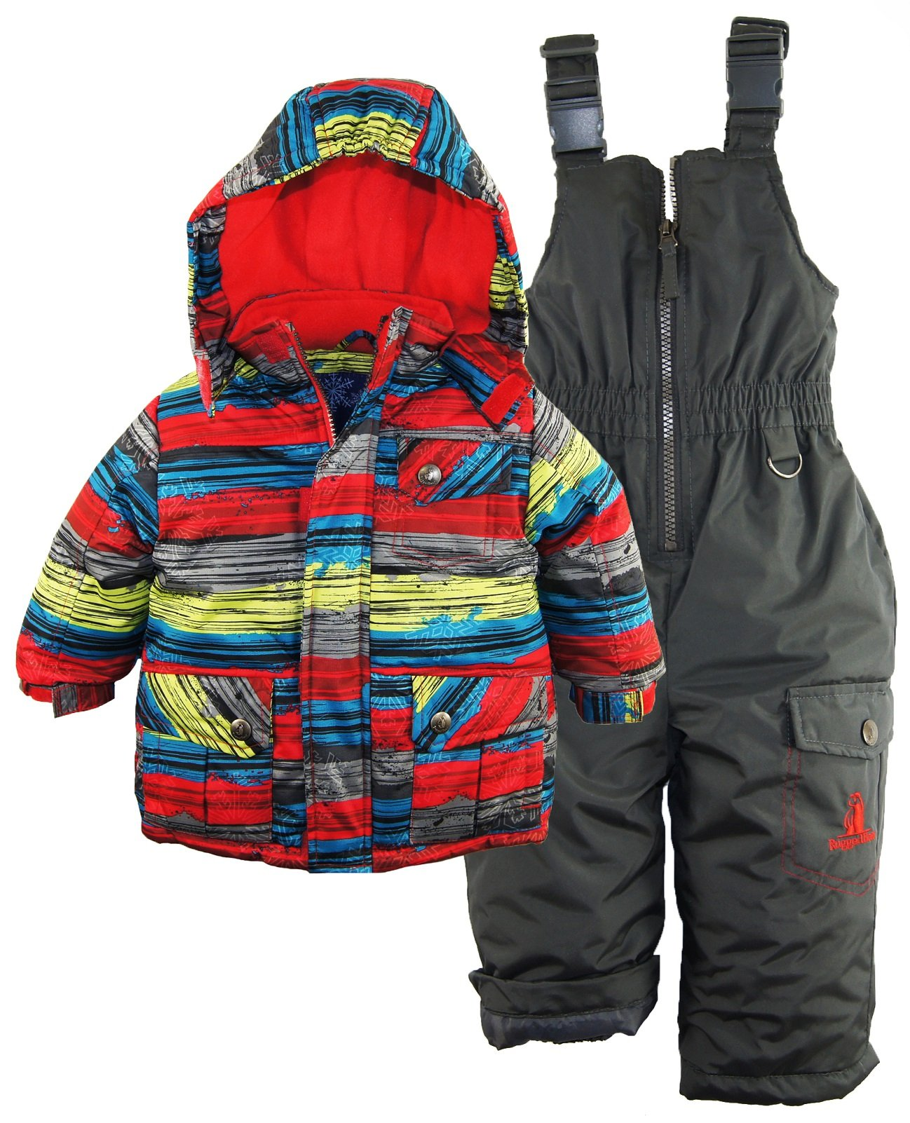 Rugged Bear Baby Boys' Stripe Snowsuit, Grey, 18 Months