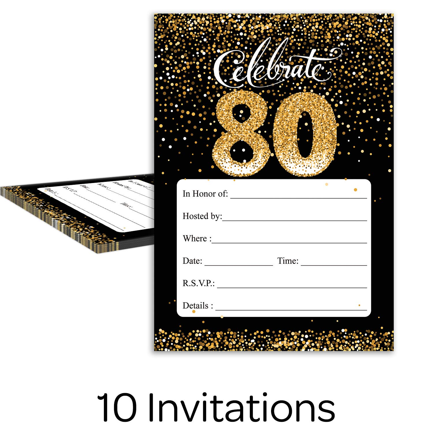 Black and Gold 80th Birthday Party Invitations 10 Cards with Envelopes