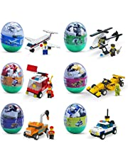 6 Pack Easter Eggs Filled with Building Brick Blocks Toys Airplane, Police Car, Fire Truck, Helicopter, Race Car & Construction Car Building Kit