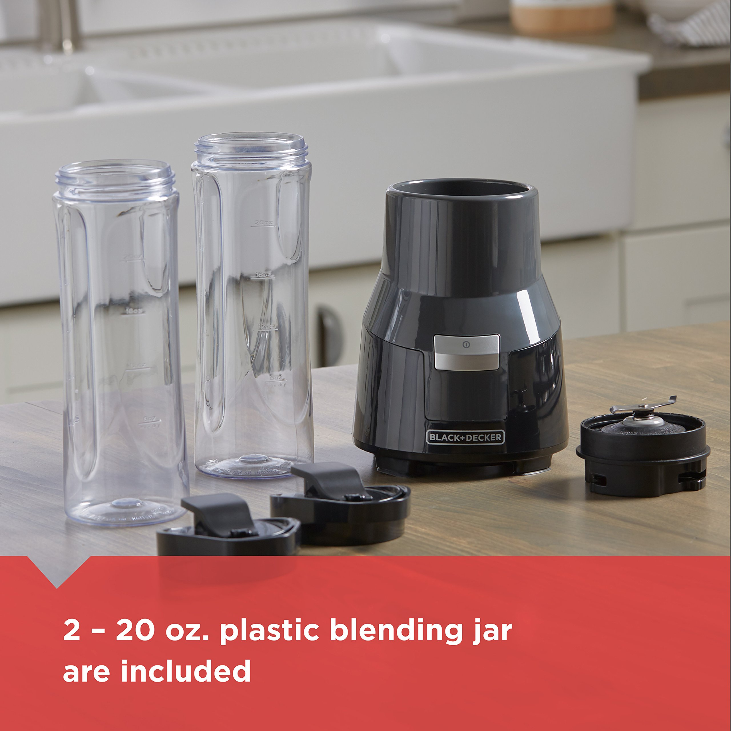 BLACK+DECKER FusionBlade Personal Blender with Two 20oz Personal Blending Jars, Gray, PB1002G by BLACK+DECKER (Image #4)