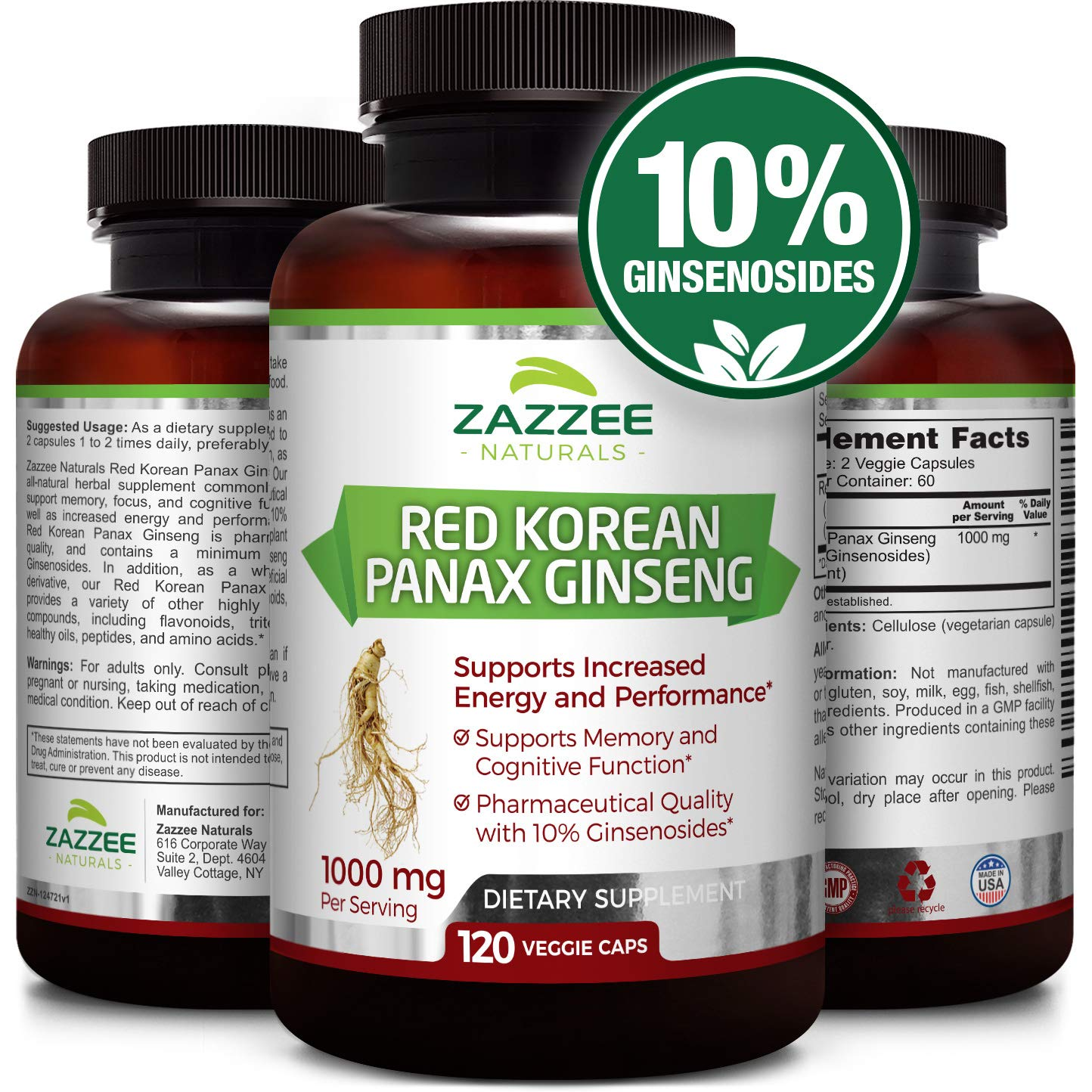 Red Korean Panax Ginseng | 10% Ginsenosides | Extra Strength | 1000 mg per Serving | 120 Veggie Caps | Vegan, Non-GMO and All-Natural | Premium Support for Energy, Performance and Cognitive Health