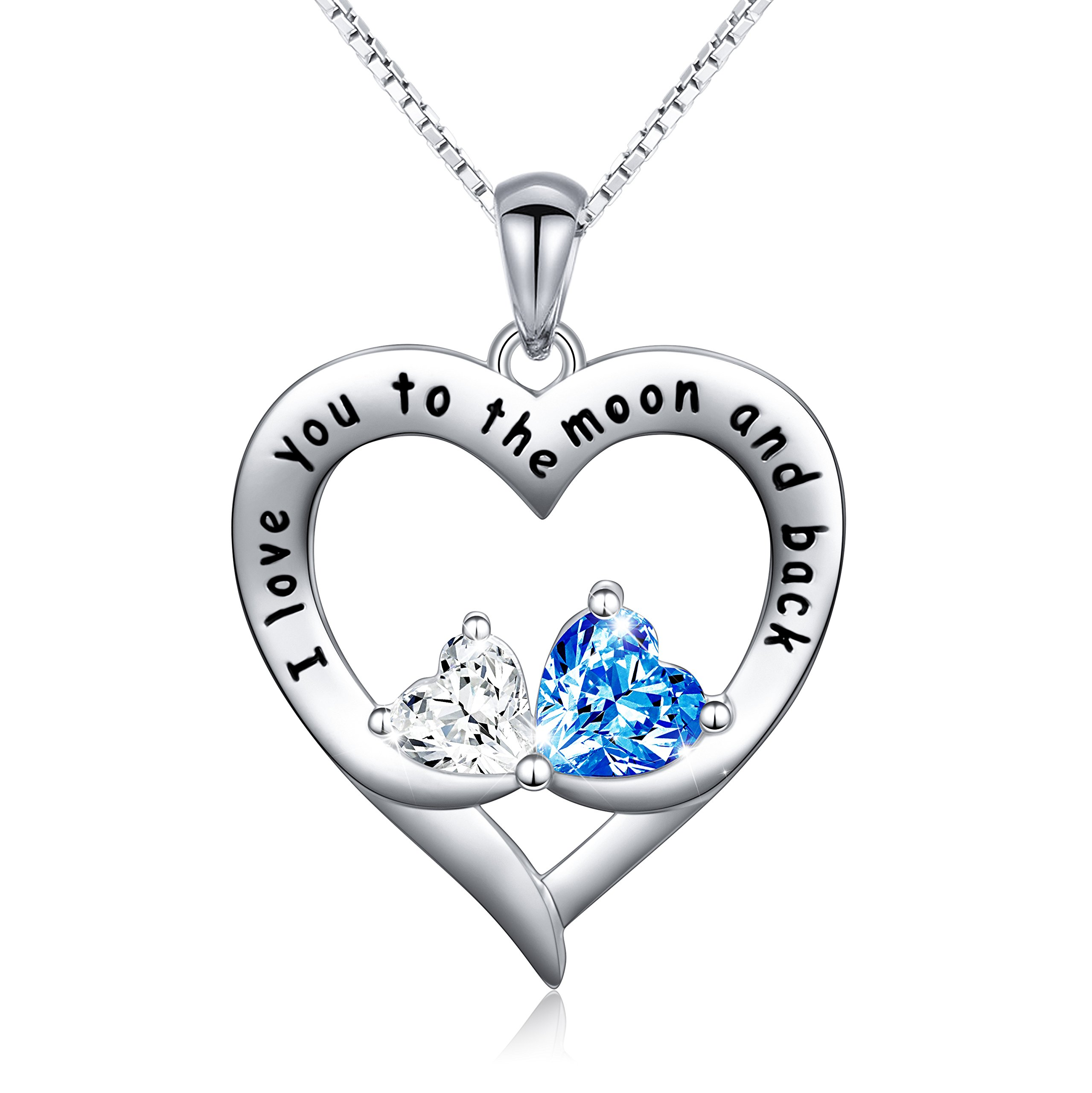 DAOCHONG Sterling Silver I Love You to The Moon and Back Double Love Heart Necklace Gift for Her, Box Chain 18''