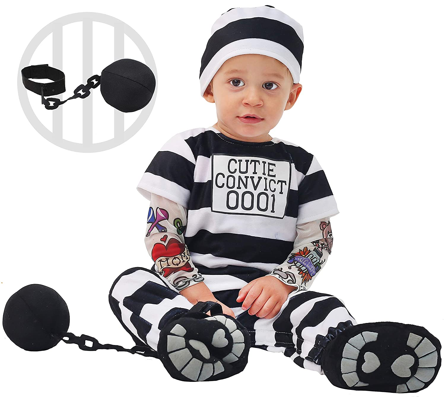 Spooktacular Creations Lovely Baby Prisoner Convict Costume Infant Deluxe Set Halloween Jail Dress Up Party Joyin Inc