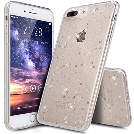 Funda iPhone 8 Plus,Funda iPhone 7 Plus,Cristal Piel Suave Estrellas Brillantes Lentejuelas Transparente TPU Silicona Fundas Skin Cover Carcasa ...