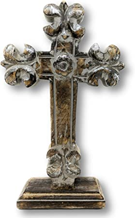 Amazon Com Standing Crosses For Table Decor Handcarved Cross For Christian Home Decor Bienville Everything Else