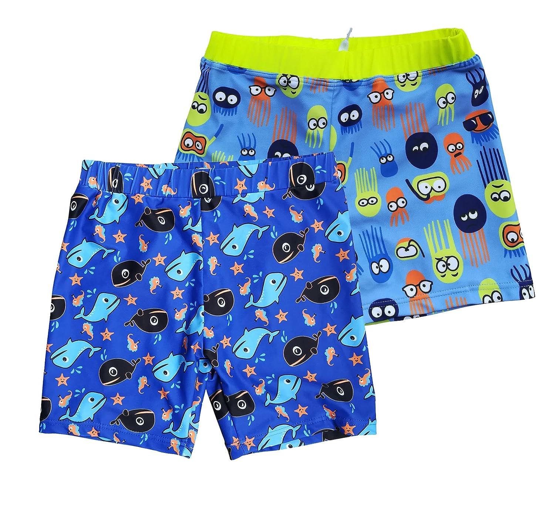 Kids' Boys UPF 50+ Boardshorts Free Swim Cap(2 Pack)