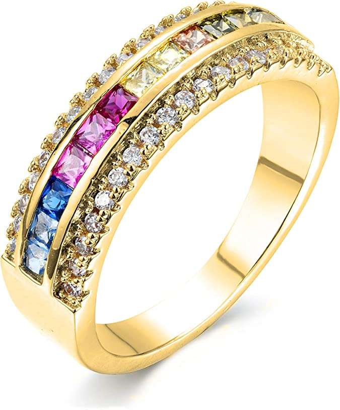 NYC Sterling Womens .925 Silver Oval Shaped Rainbow Cubic Zirconia Eternity Ring