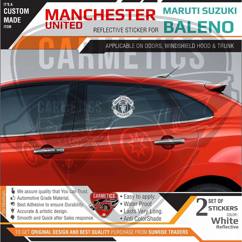 Carmetics manchester united stickers for baleno windows white 2pcs amazon in car motorbike