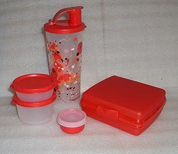 Tupperware fiambrera juego de fiambrera y bandeja con cuencos, color rojo