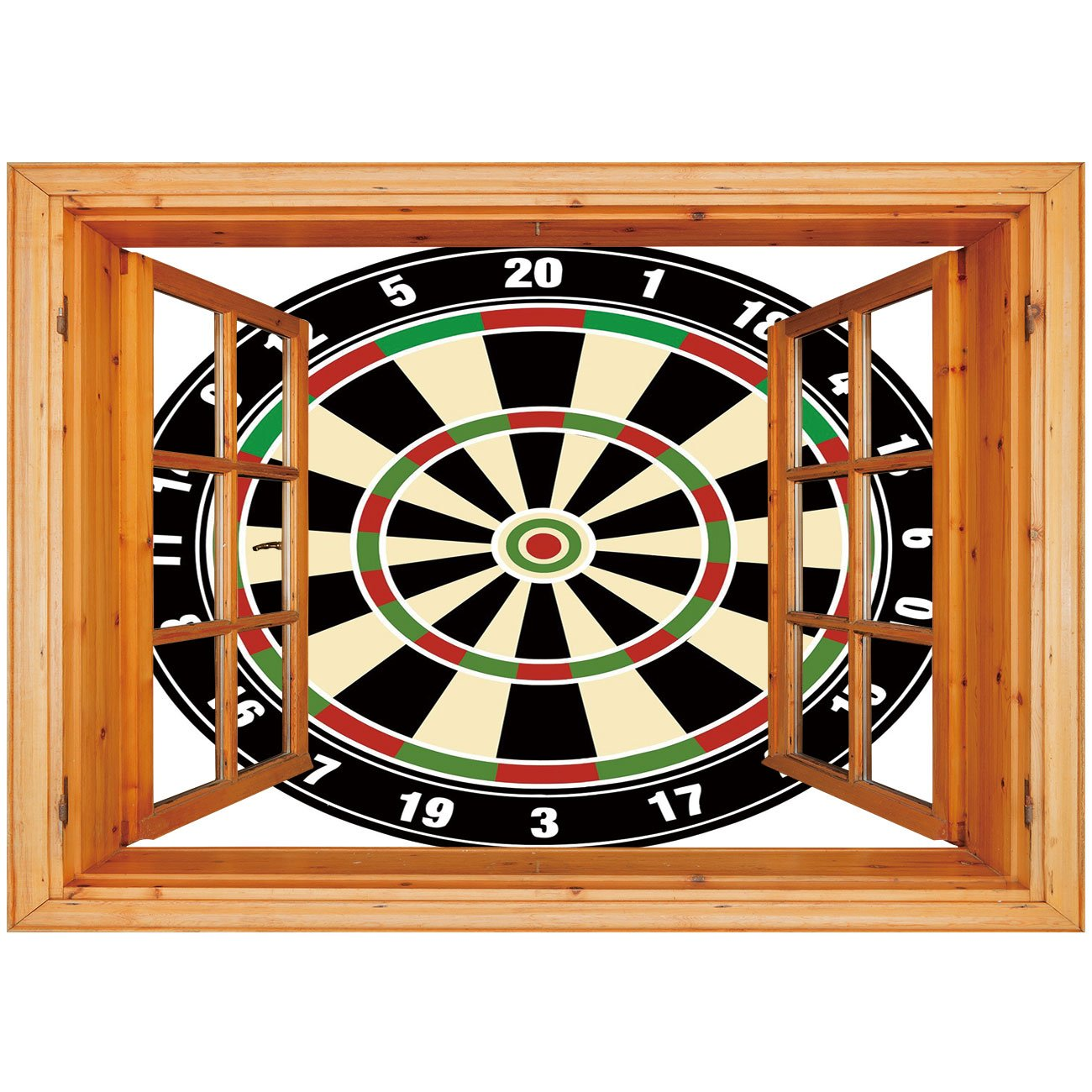 3D Depth Illusion Vinyl Wall Decal Sticker [ Sports,Dart Board Numbers Sports Accuracy Precision Target Leisure Time Graphic,Vermilion Green Black ] Window Frame Style Home Decor Art Removable Wall St