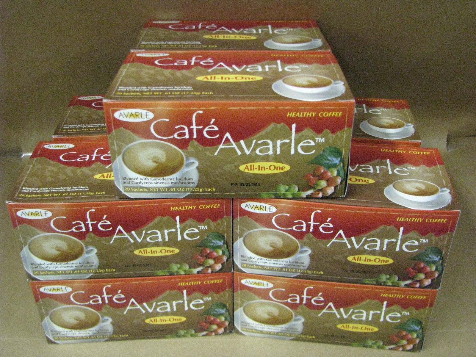 All-in-One Healthy Coffee with Ganoderma & Cordceps. Creamer, Sugar & Xylitol 10 Boxes (20 Pks Ea) by Cafe Avarle