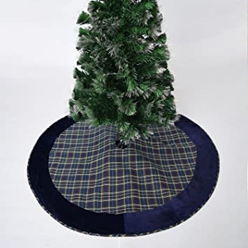 Gireshome 50quot Blue Plaid Christmas Tree Skirt With Velvet Border XMAS Decoration Merry