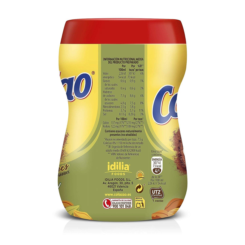 ColaCao 0% azúcares añadidos: con cacao natural - Envase de ...