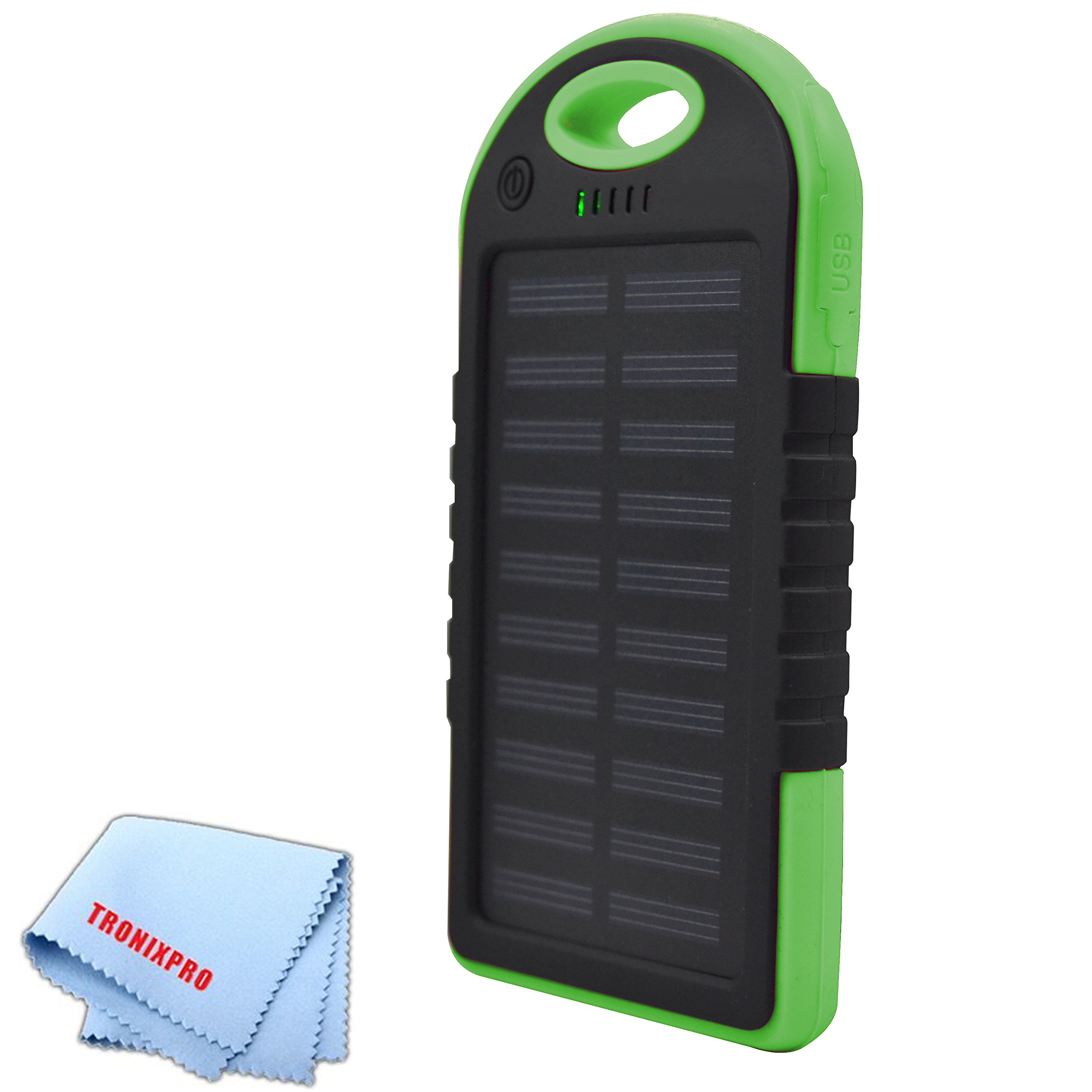 7000mAh Solar cell Water resistant Battery power bank and with dual USB output and Blacklight (Green) + Tronixpro Microfiber Cloth