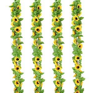 OUTLEE 4 Pack Artificial Sunflower Garland Faux Silk Sunflower Vines with 12 Flower Heads 8 ft Long for Home Garden Wedding Party Decor