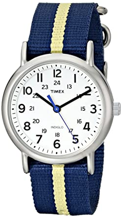 fdca32d14a34 Timex Unisex T2P142 Weekender Blue Yellow Stripe Nylon Slip-Thru Strap Watch