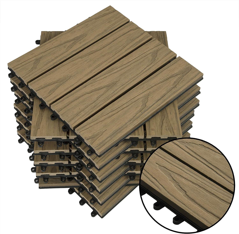 WOLTU GTF006an Piastrelle per Pavimenti da Esterno Mattonelle Pavimentazione ad Incastro Click-Deck in Legno Composito Antracite 1 m/²