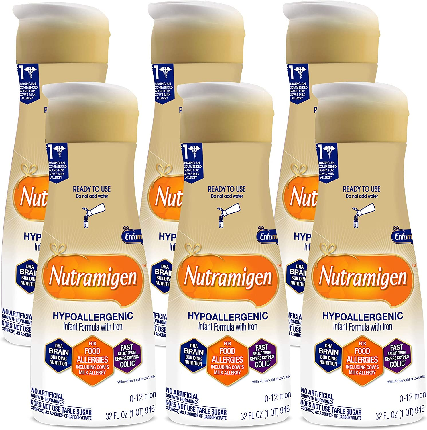 Enfamil Nutramigen Baby Formula, Hypoallergenic, Lactose Free Formula with Enflora LGG, Fast Relief from Crying & Colic, DHA for Brain Support, Ready to Feed Bottle, 32 Fl Oz (Pack of 6) Total 192 Oz
