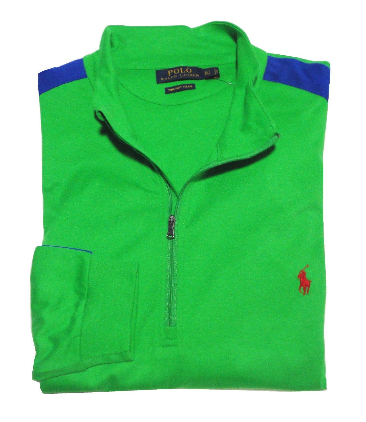 Polo Ralph Lauren Big & Tall Color-Blocked Pima Pullover, Vivid Green, Tall X