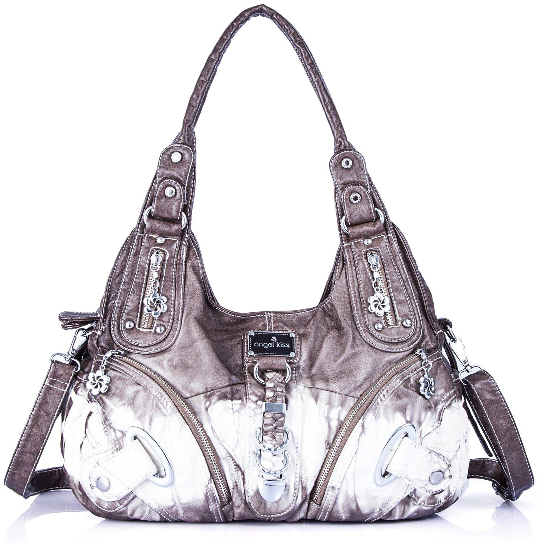 Handbag Hobo Women Bag Roomy Multiple Pockets Street ladies' Shoulder Bag Fashion PU Tote Satchel Bag for Women (11282Z grey)