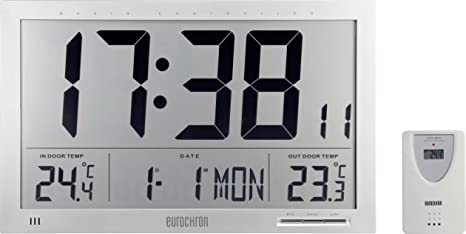 eurochron jumbo  EUROCHRON Funk orologio a parete EFWU Jumbo 102 370mm x 230mm x 30mm ...