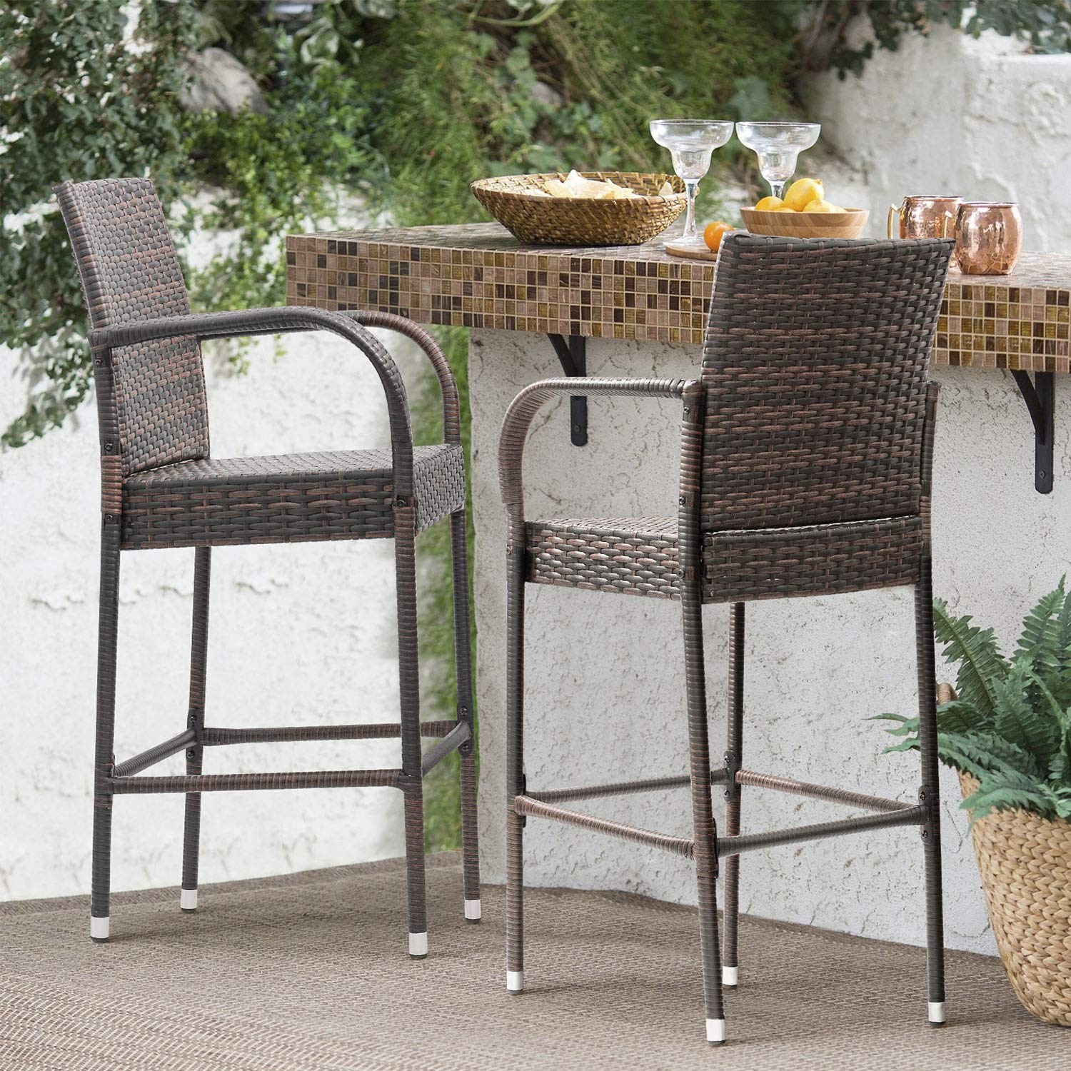Homall Patio Bar Stools Wicker Barstools Indoor Outdoor Bar Stool Patio Furniture with Footrest and Armrest for Garden Pool Lawn Backyard Set of 2 (Brown) by Homall (Image #4)