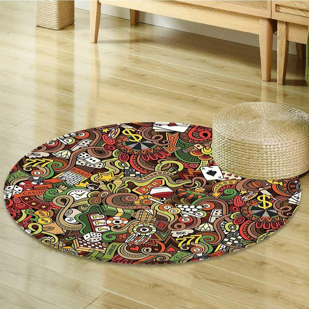 Round Area Rug Carpet Doodles Style Art Bingo Excitement Checkers King Tambourine Vegas Living Dining Room Bedroom Hallway Office Carpet-Round 51''
