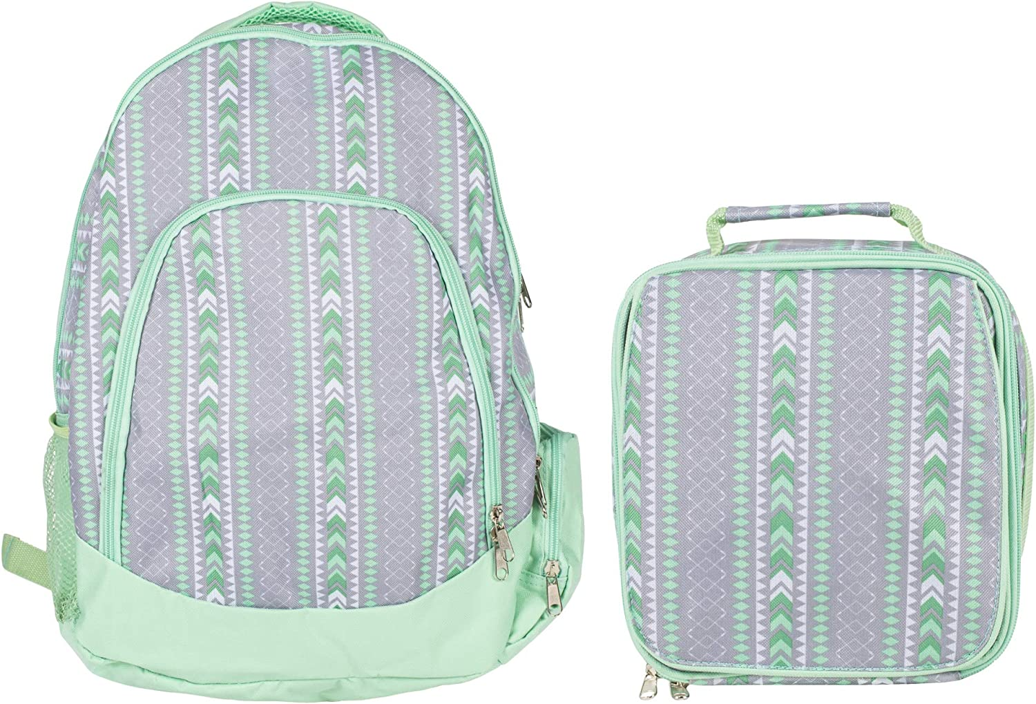 Tribal Mint Green Girl's Insulated Polyester Blend Backpack and Lunchbox Set