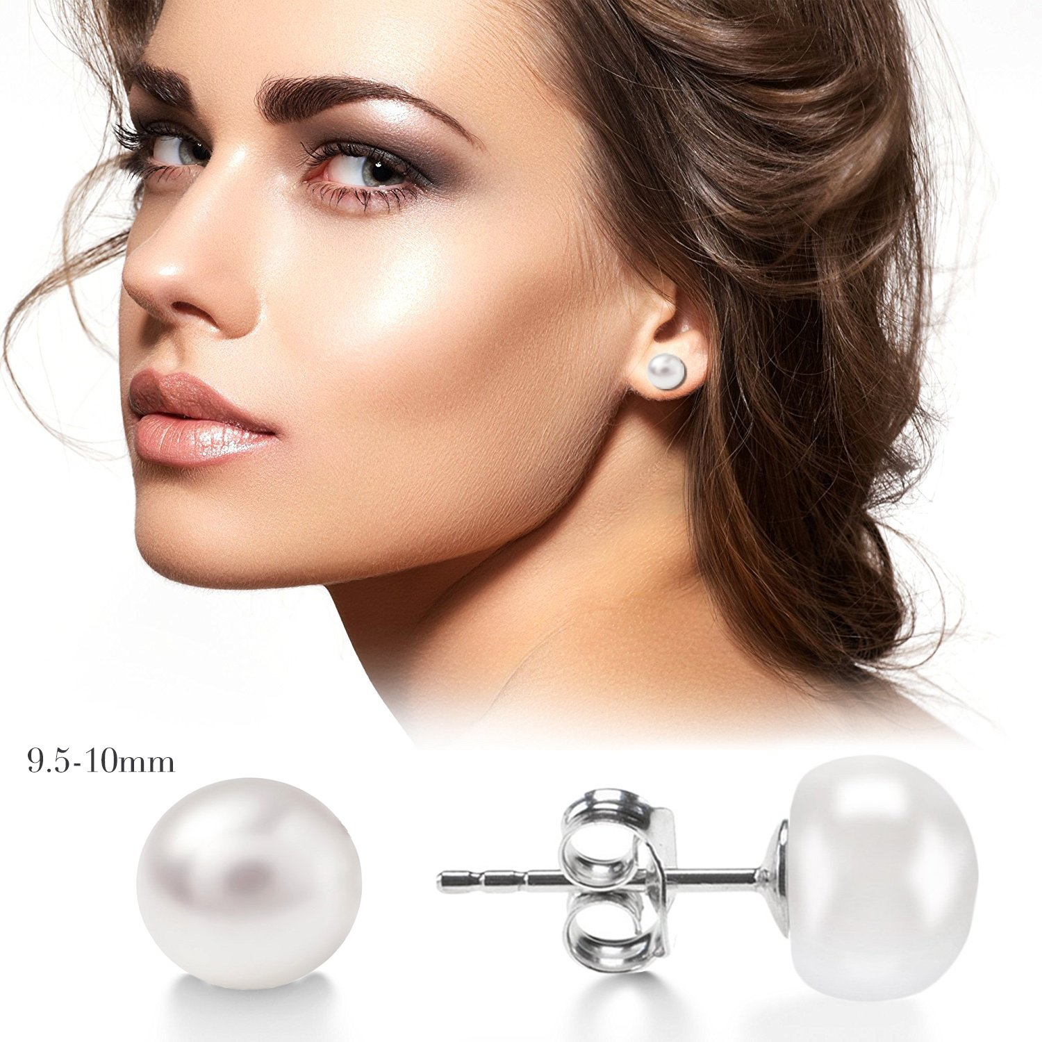 AAAA+ Japanese Freshwater Cultured Pearls J.F/ée White/& Pink Pearl Sterling Silver Stud hypoallergenic Earrings with Luxury Jewellery Gift Box