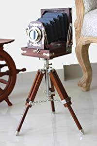 Antique Vintage Look Film Camera Wooden Tripod Collectible Studio Gift Item Brown Color (22 Inches)