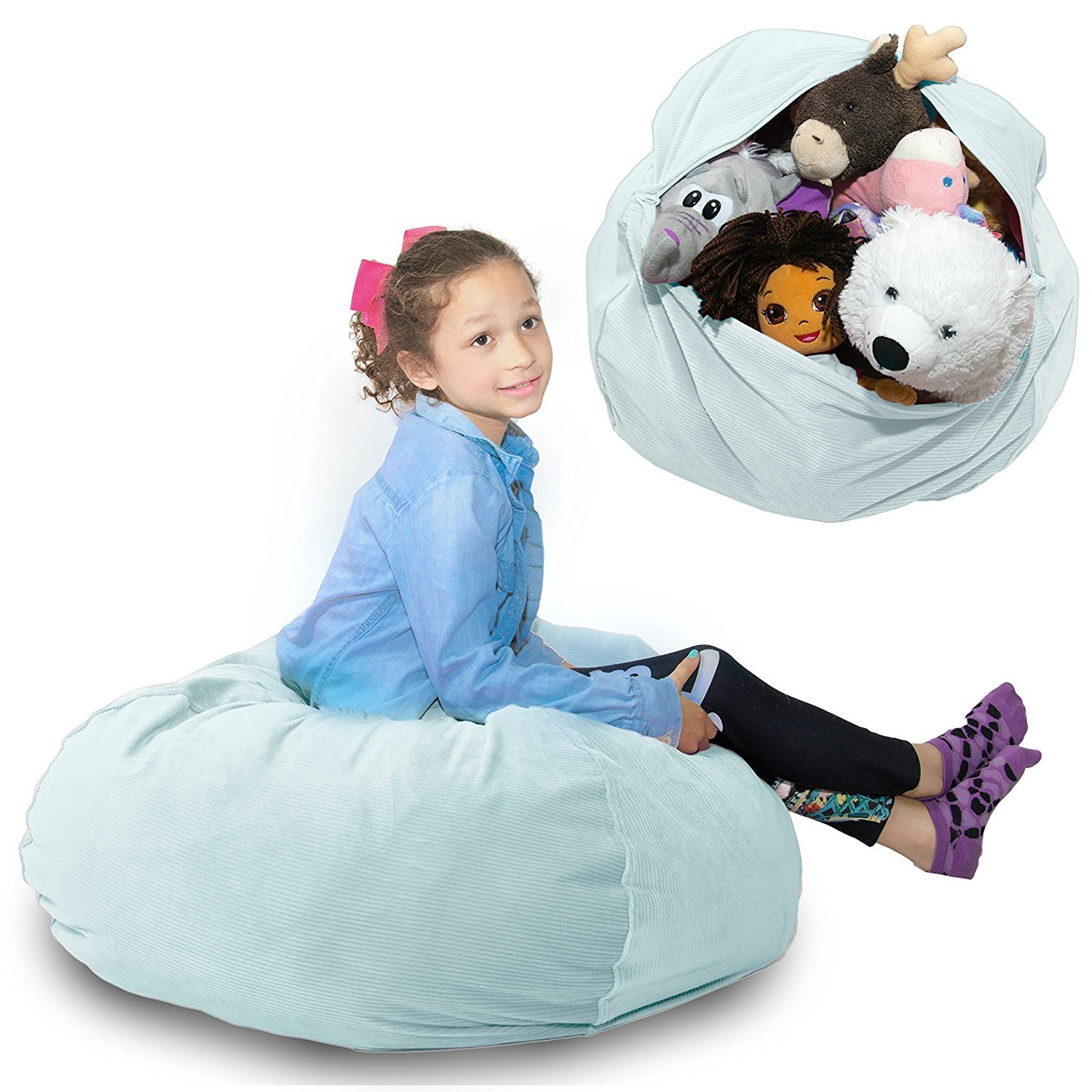 stuffed animal storage bean bag large super soft corduroy fabric kids prefer over. Black Bedroom Furniture Sets. Home Design Ideas