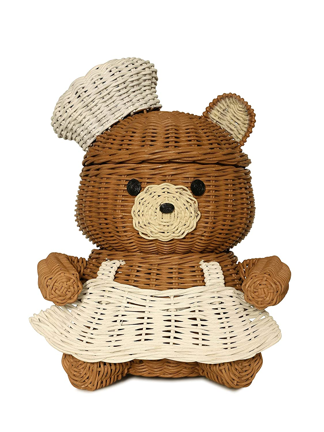 G6 COLLECTION Bear Rattan Storage Basket with Lid Decorative Bin Home Decor Hand Woven Shelf Organizer Cute Handmade Handcrafted Gift Art Decoration Artwork Wicker Bear (Chef Bear)