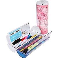 حقيبة أقلام رصاص متعددة الوظائف مع قفل رقمي لكلمة مرور، تصميم جميل شفاف للرمال المتحرك، صندوق مدرسي أسطواني مبتكر مع آلة…