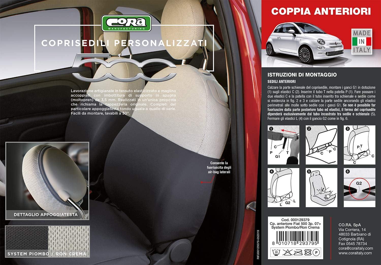 Cora 000129379/Housses personnalis/és Fiat 500/07/ Tess System Plomb//Ron Cr/ème