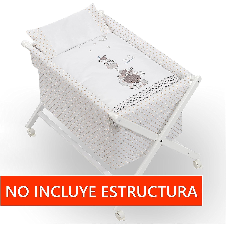 Almohada Colch/ón Minicuna mibebestore Plegable Blanco//Beige Papis: Estructura Vestidura Colcha Desenfuntable