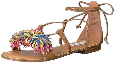 Steve Madden Women's Swizzle Flat Sandal, Natural Multi, ...
