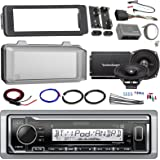 """Harley Audio Package Of Kenwood KMR-M315BT Bluetooth MP3 Stereo Receiver Bundle Combo With Dash Trim Kit + Radio Cover + 2x 5.25"""" Speakers + 2 Channel Amplifier W/ Install Kit + Handle Bar Conroller"""