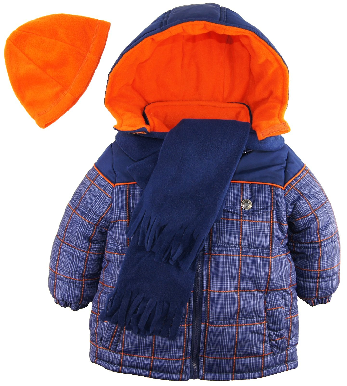 iXtreme Little Boys' Toddler Puffer Coat in Plaid with Hat and Scarf, Navy, 2T