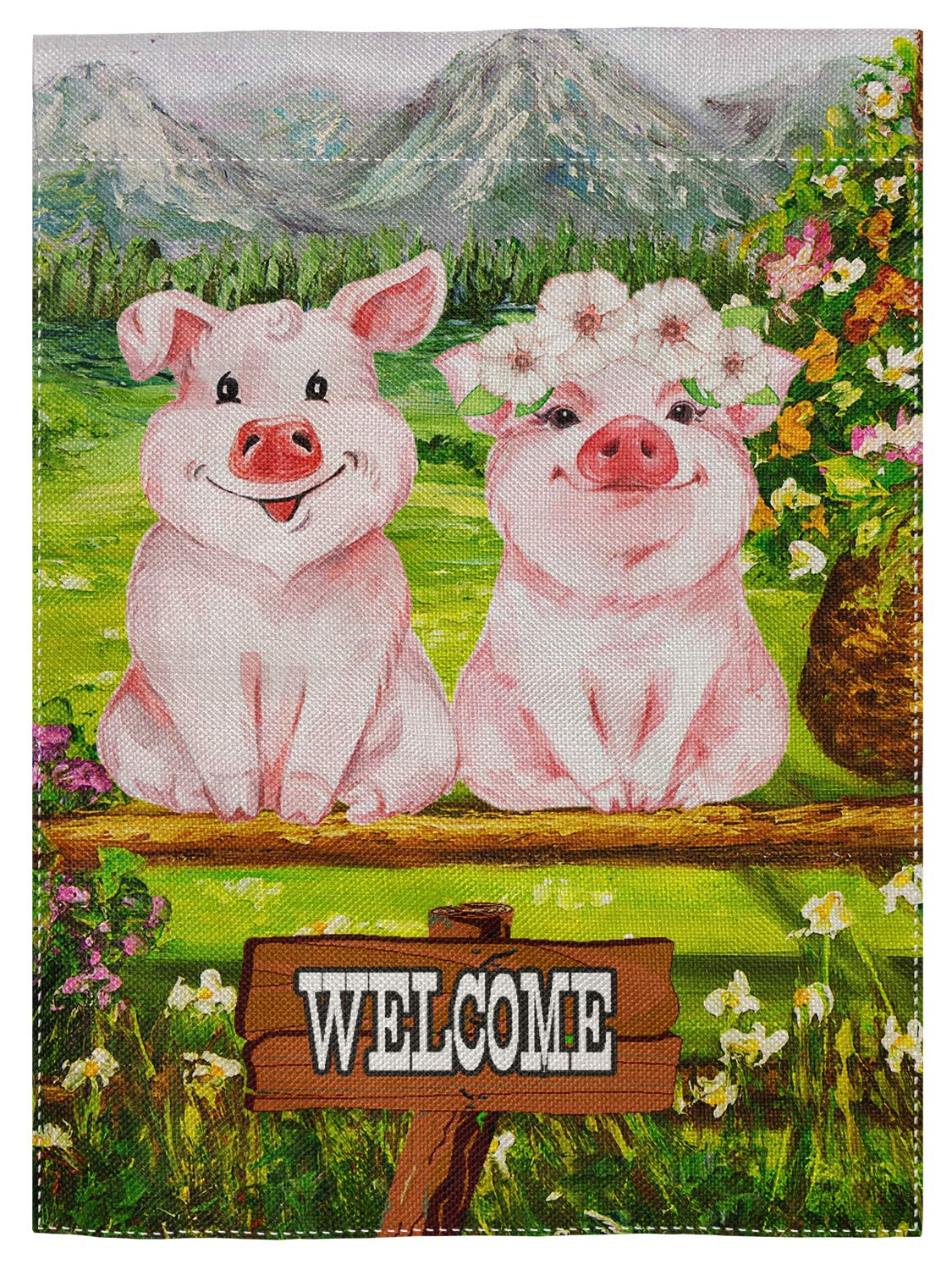 "pingpi Decorative Outdoor Double Sided Funny Pig Garden Flag Welcome Quote, House Yard Flag, Garden Yard Decorations, Seasonal Outdoor Flag 12.5""x18"""