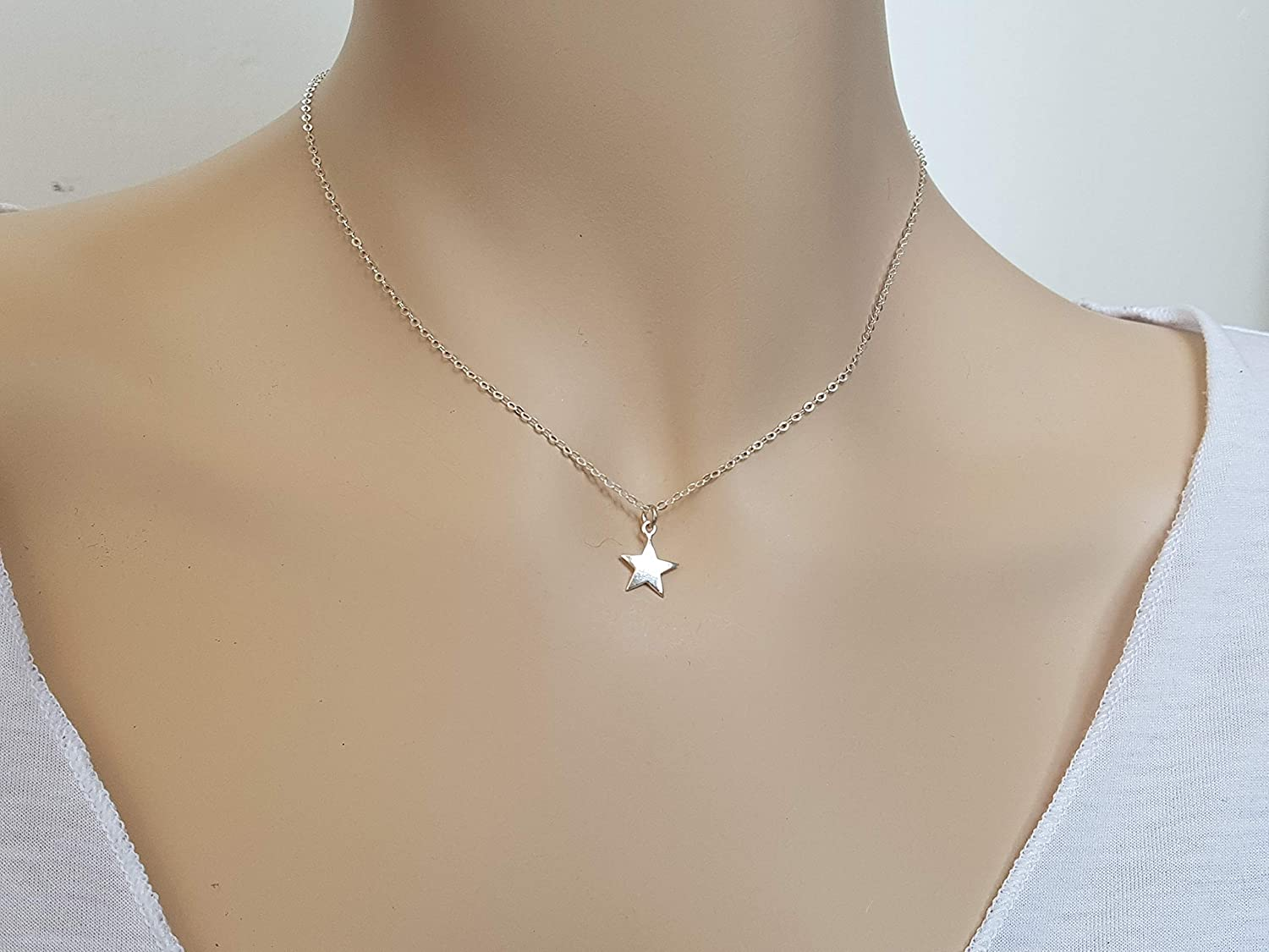 cd5d75a8626 Amazon.com: Tiny Star Necklace for Women, 925 Sterling Silver Charm ...