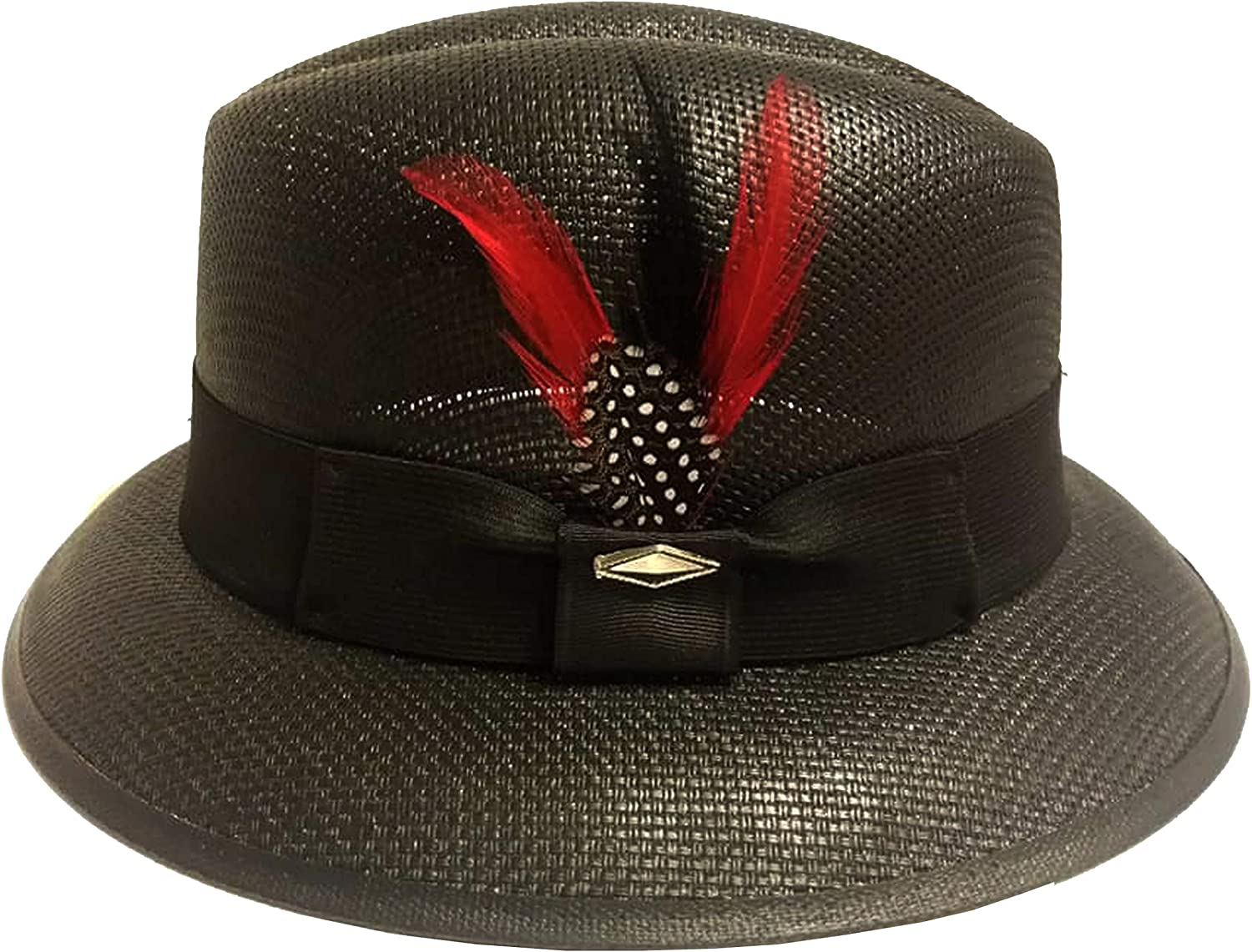 Black with Red Feather Pachuco Lowrider Fedora Style Brim Hat