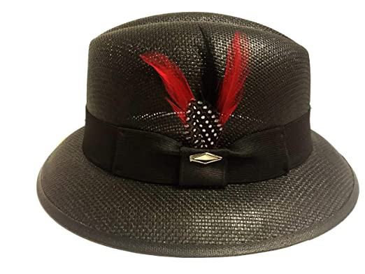 Black with Red Feather Pachuco Lowrider Fedora Style Brim Hat (6 3 4) d63cbadf9fb
