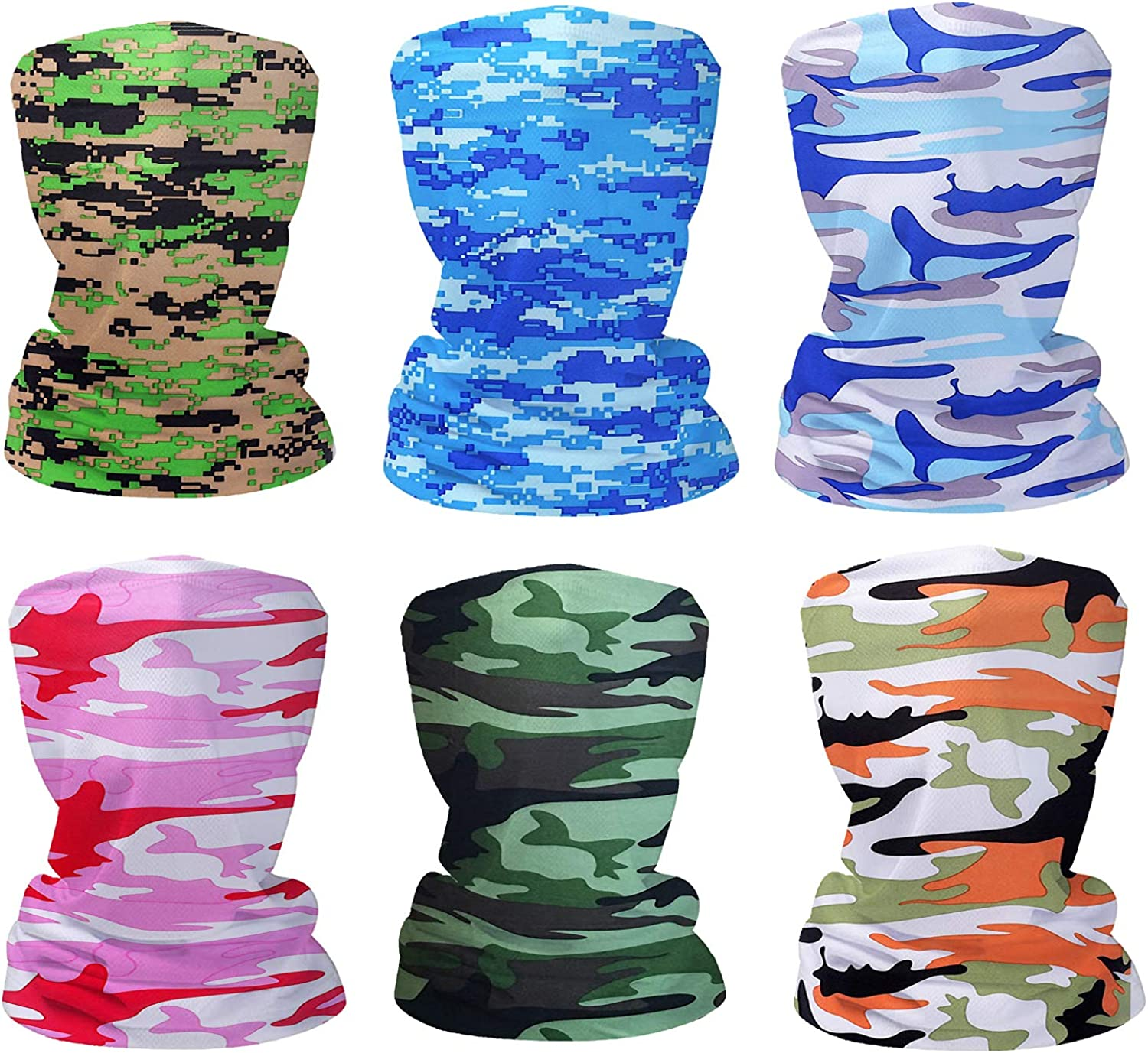 Fashion Face Dust Mask (6 PCS) Bandanas Sports & Casual Headwear Seamless Neck Gaiter, Headwrap, Balaclava, Helmet Liner