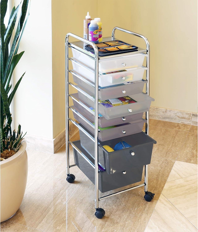 Seville Classics 8-Drawer Multipurpose Mobile Rolling Utility Storage Bin Organizer Cart, Gradient Gray: Home & Kitchen
