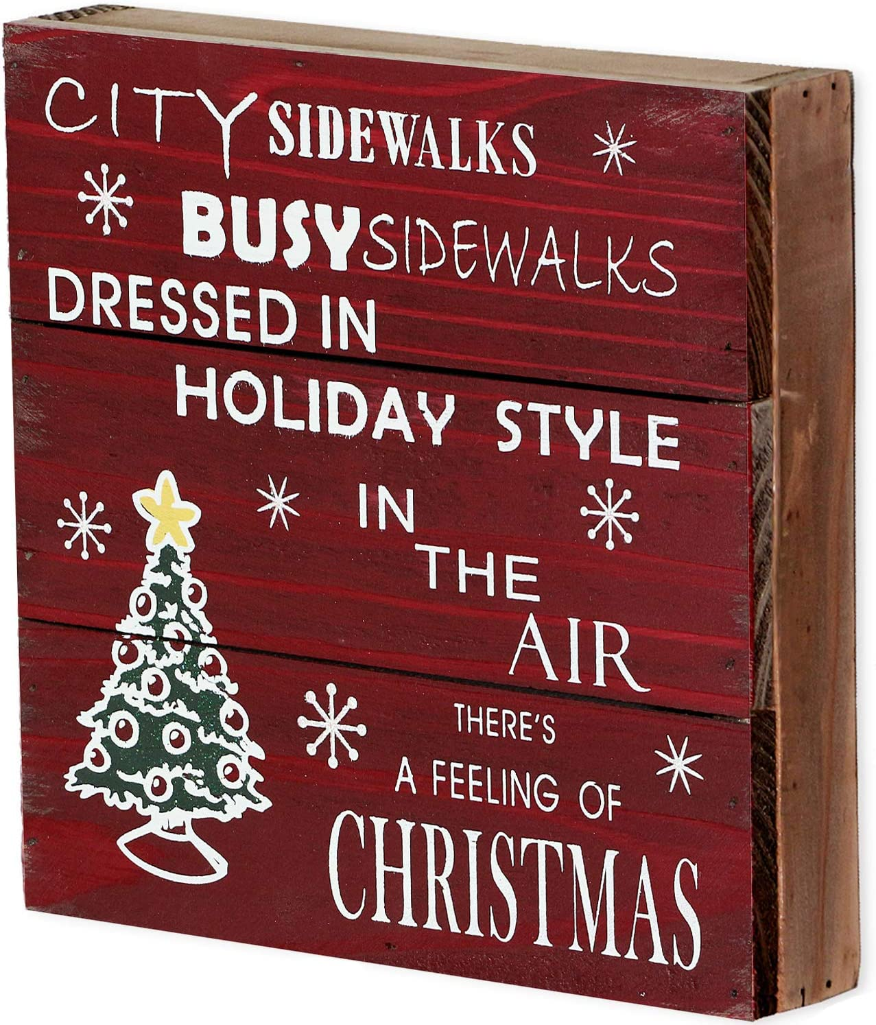 "Rustic Christmas Sign Decor Wood Plaque Hanging Wall Art Sign, 8"" x 8"" Primitive Christmas Box Sign Hanging Decoration Wooden Wall Decor Sign City Sidewalks Home Decor Accent (Xmas Sign B)"