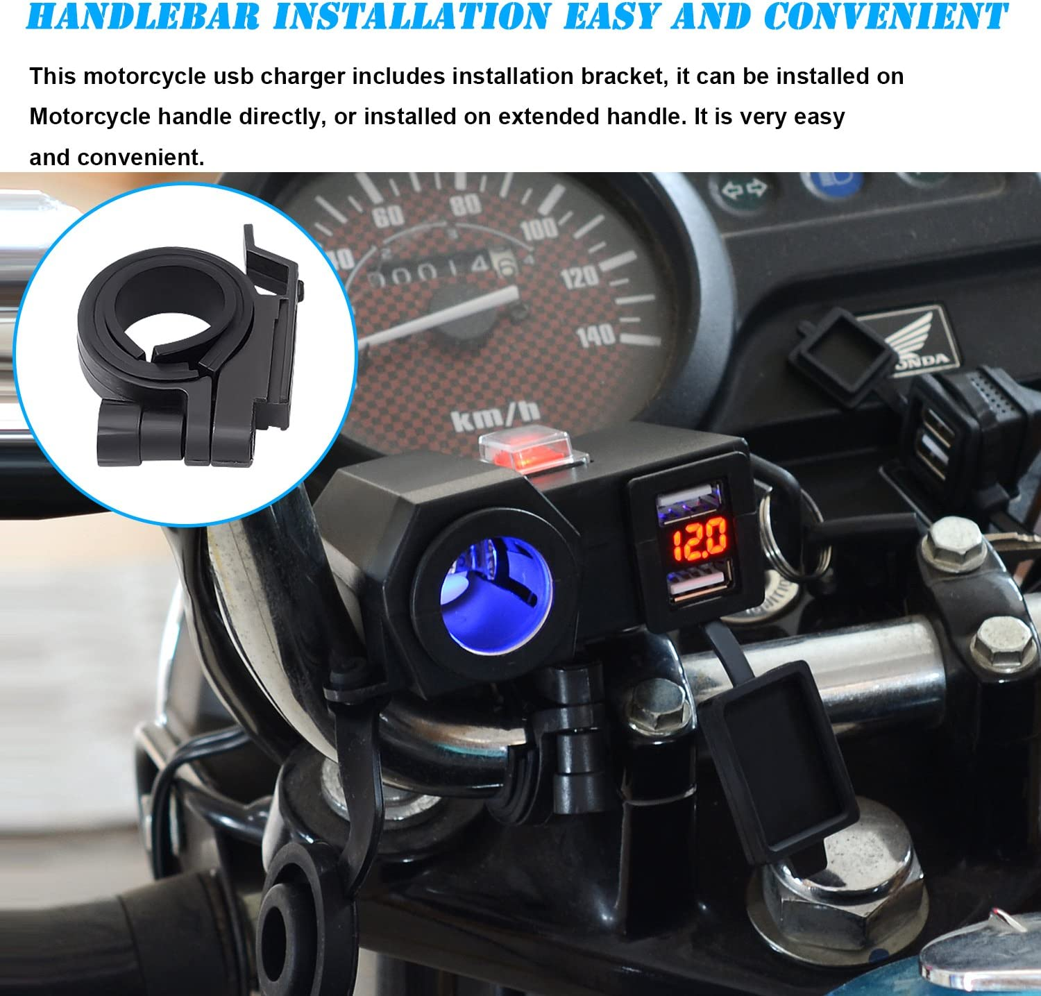 "Blue 7//8/"" Handlebar Waterproof USB Charger For Kawasaki Ninja ZX600 636 750"